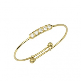 18k Yellow Gold Diamond Set Childrens Bangle